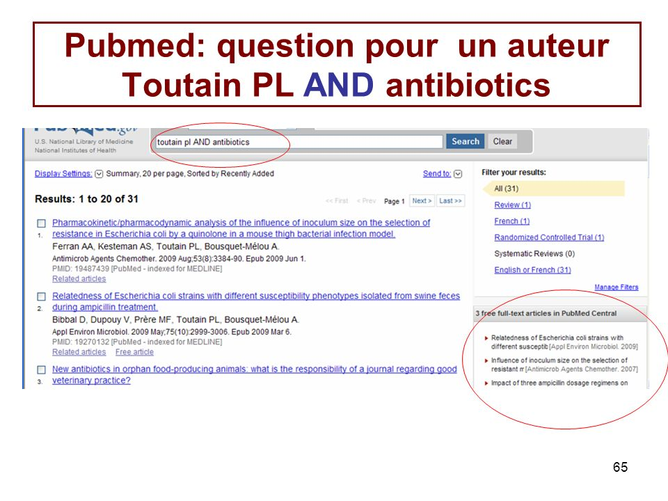 Pubmed: question pour un auteur Toutain PL AND antibiotics