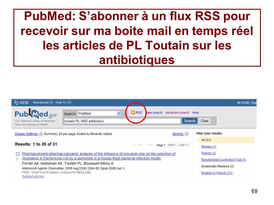 PubMed: S'abonner à un flux RSS pour recevoir sur ma boite mail en temps réel les articles de PL Toutain sur les antibiotiques
