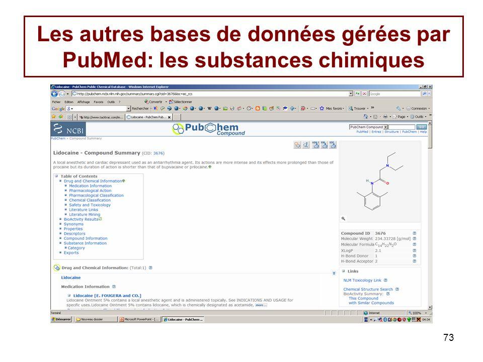 Les autres bases de données gérées par PubMed: les substances chimiques