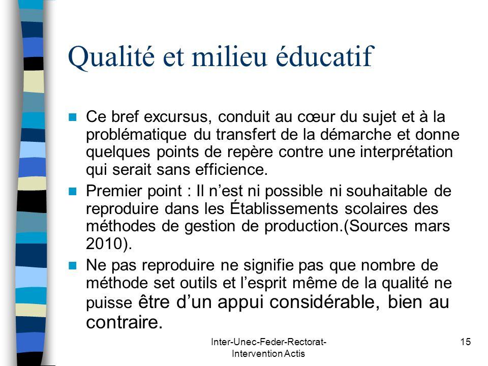 Qualité et milieu éducatif