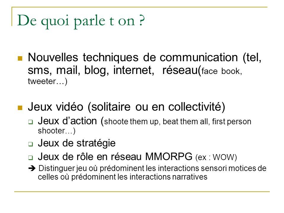De quoi parle t on Nouvelles techniques de communication (tel, sms, mail, blog, internet, réseau(face book, tweeter…)