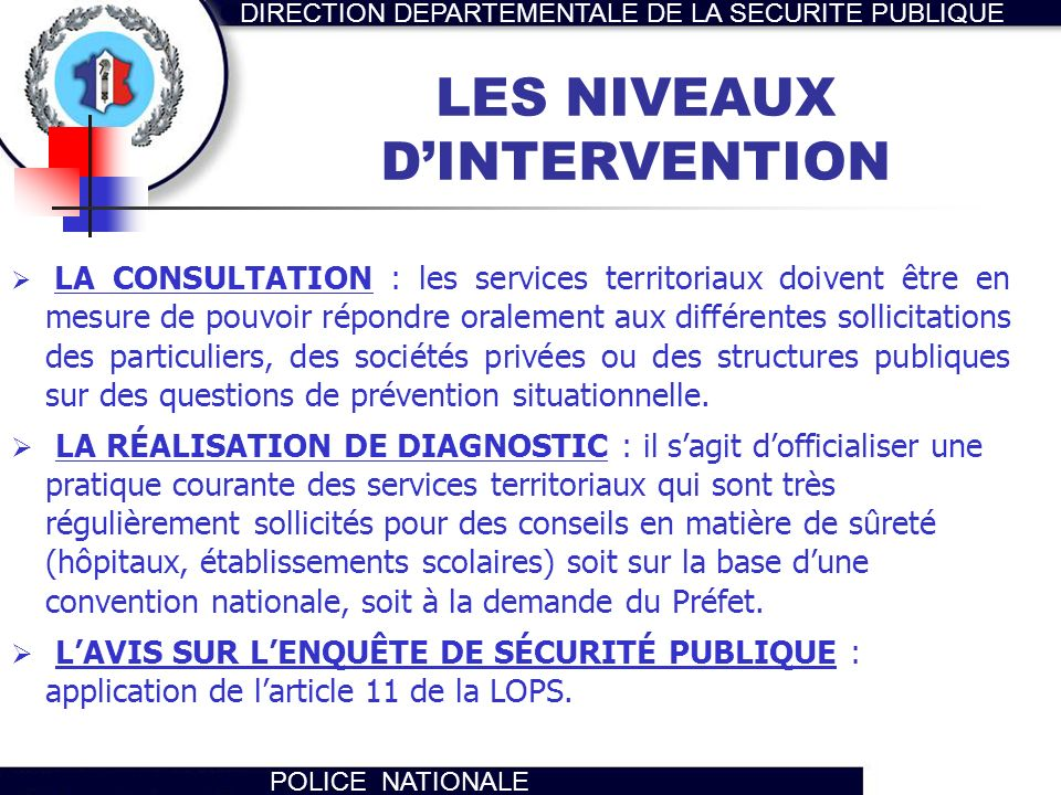 LES NIVEAUX D'INTERVENTION