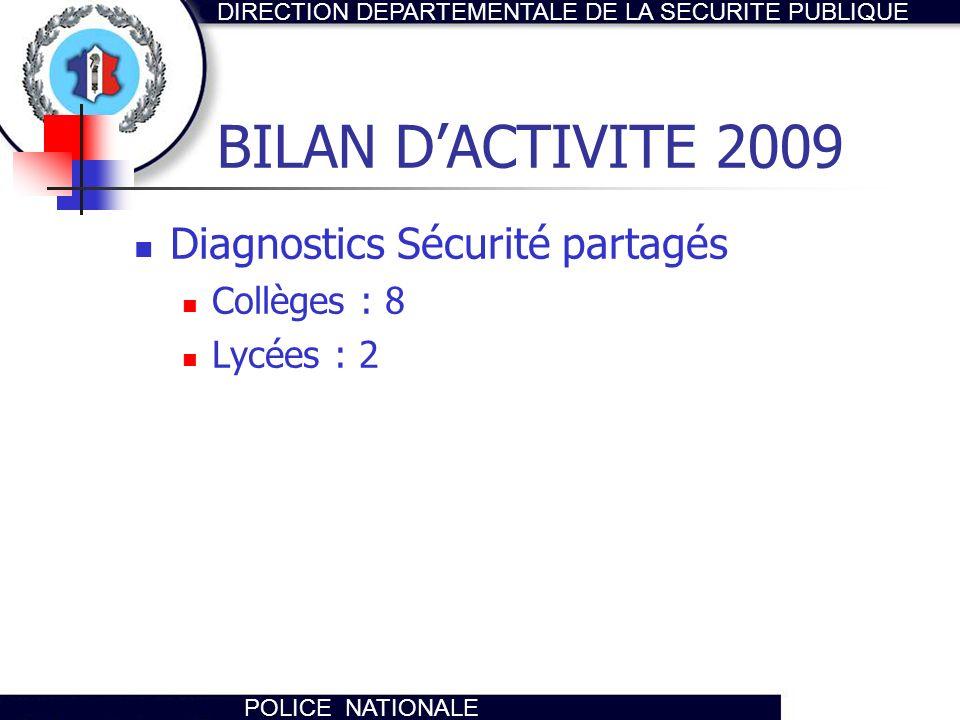 BILAN D'ACTIVITE 2009 Diagnostics Sécurité partagés Collèges : 8