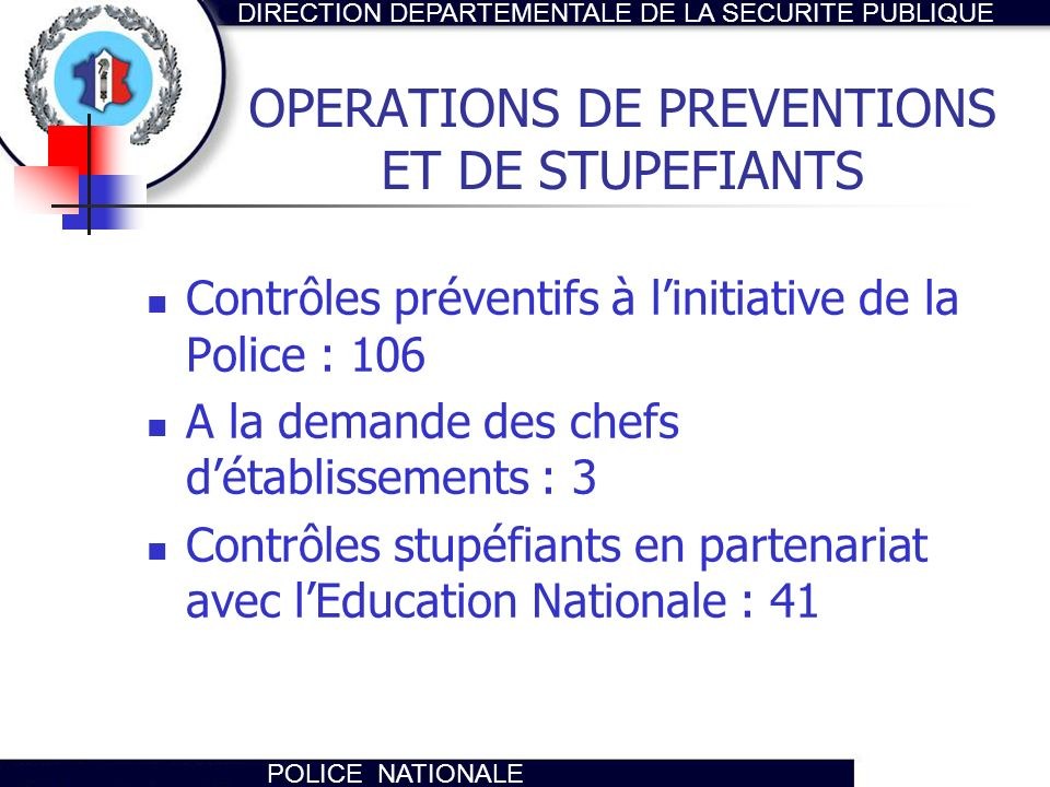 OPERATIONS DE PREVENTIONS ET DE STUPEFIANTS