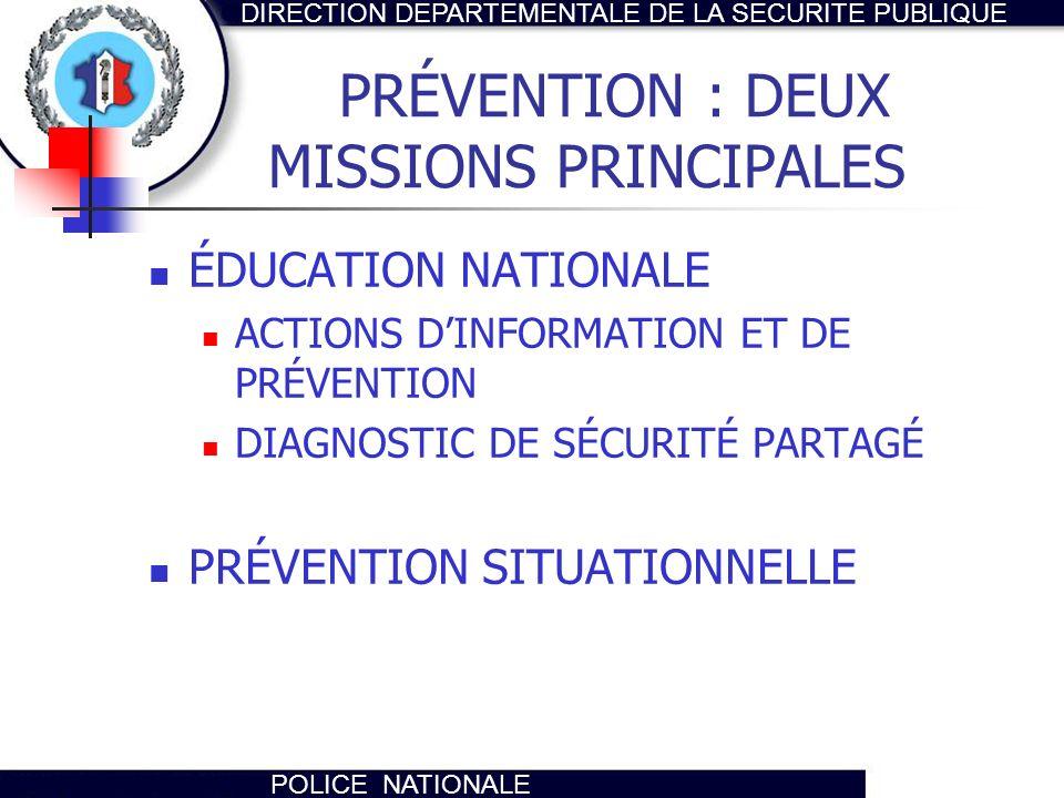PRÉVENTION : DEUX MISSIONS PRINCIPALES