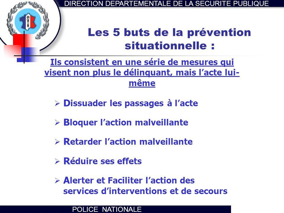 Les 5 buts de la prévention situationnelle :