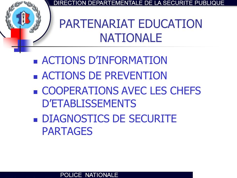 PARTENARIAT EDUCATION NATIONALE