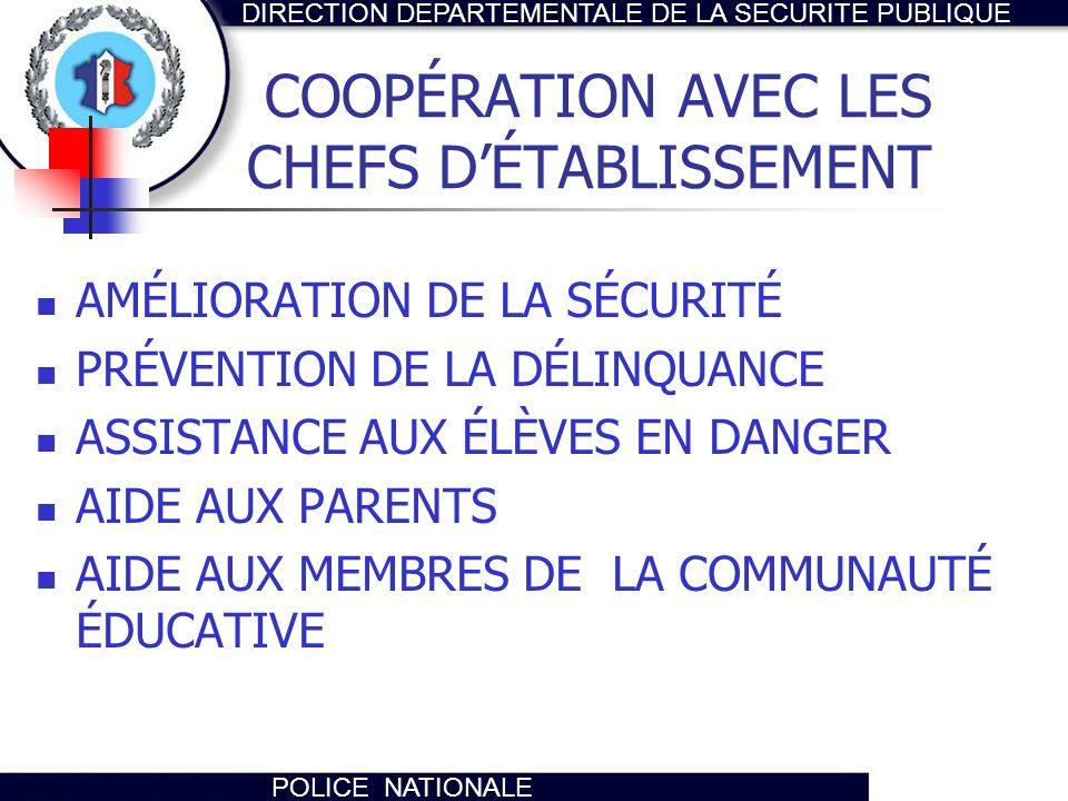 COOPÉRATION AVEC LES CHEFS D'ÉTABLISSEMENT