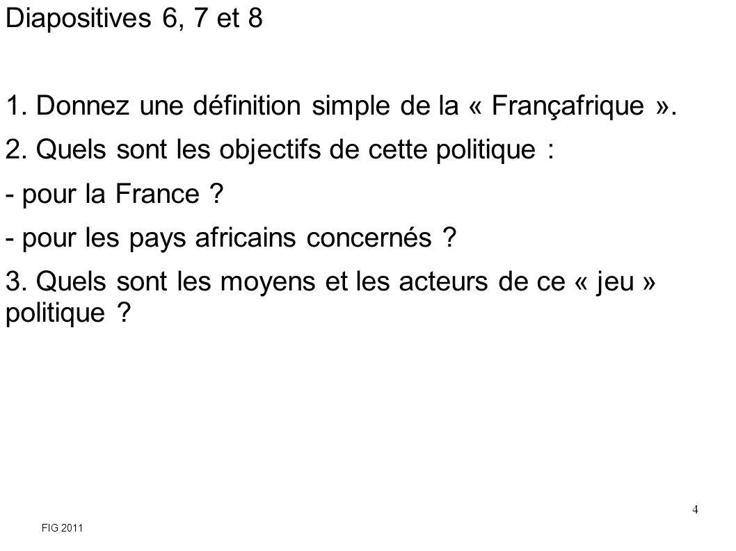 Donnez une définition simple de la « Françafrique ».