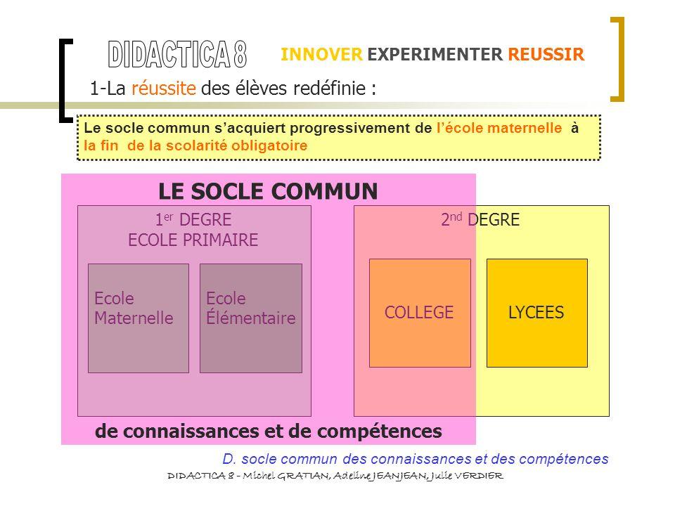 LE SOCLE COMMUN DIDACTICA 8 1-La réussite des élèves redéfinie :
