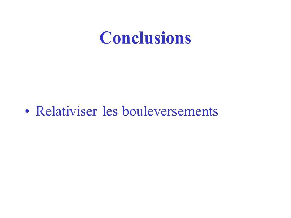 Conclusions Relativiser les bouleversements