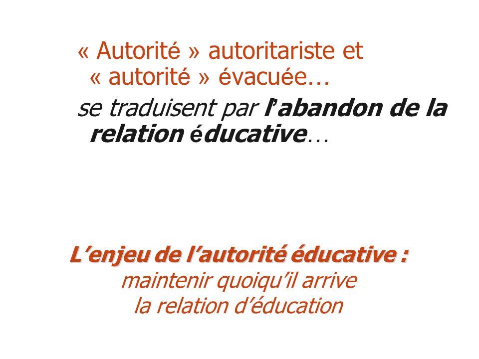 « Autorité » autoritariste et « autorité » évacuée…