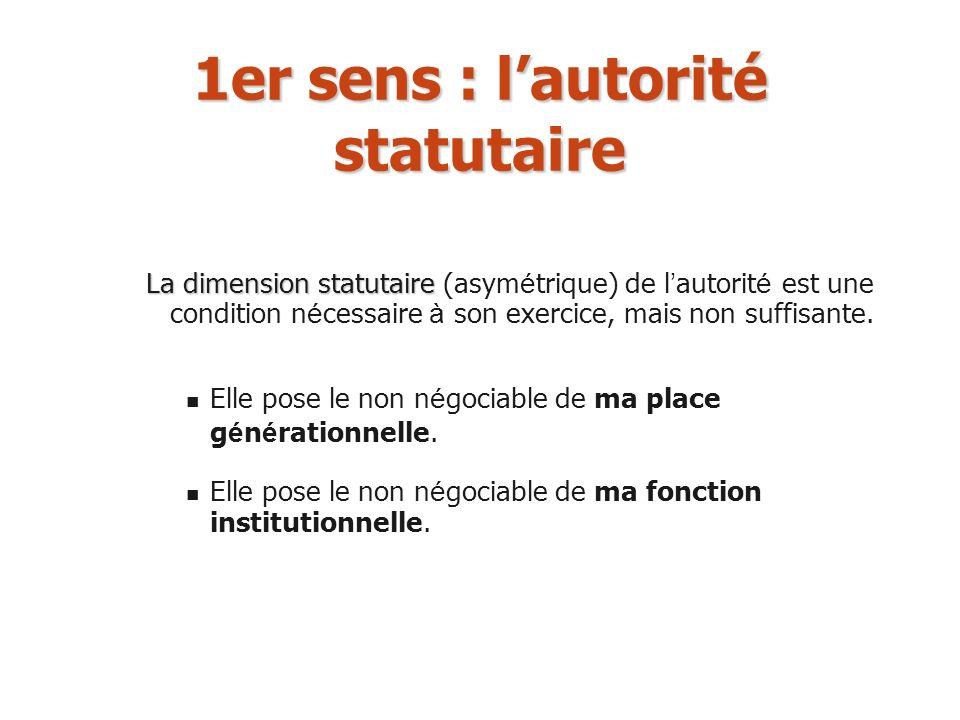 1er sens : l'autorité statutaire