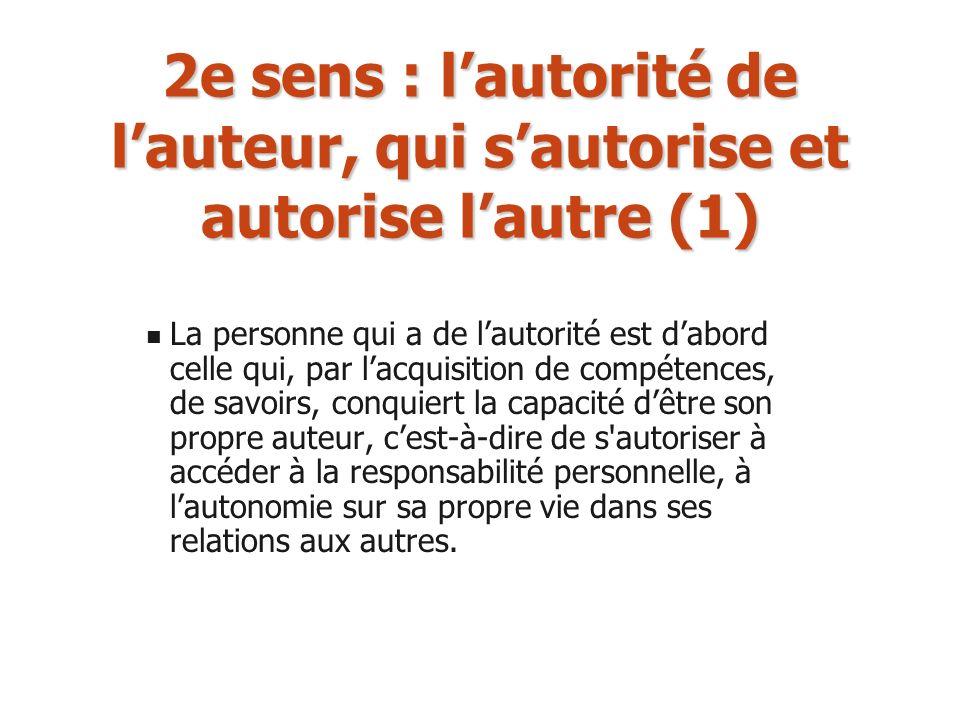 2e sens : l'autorité de l'auteur, qui s'autorise et autorise l'autre (1)