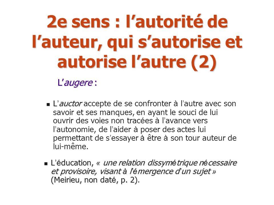 2e sens : l'autorité de l'auteur, qui s'autorise et autorise l'autre (2)