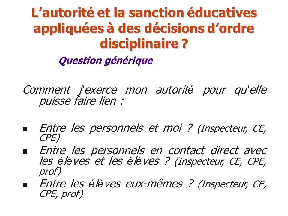 L'autorité et la sanction éducatives appliquées à des décisions d'ordre disciplinaire