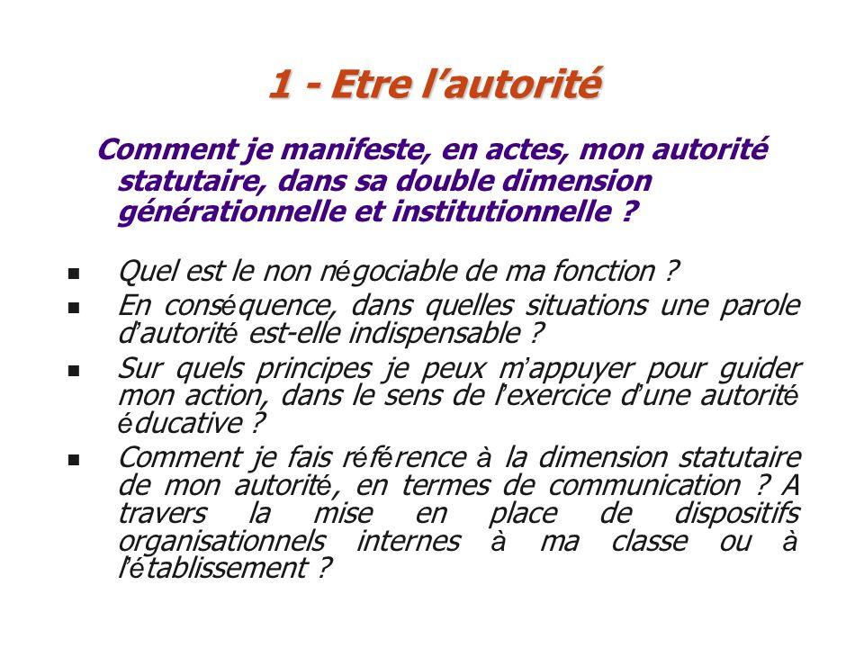 1 - Etre l'autorité Comment je manifeste, en actes, mon autorité statutaire, dans sa double dimension générationnelle et institutionnelle