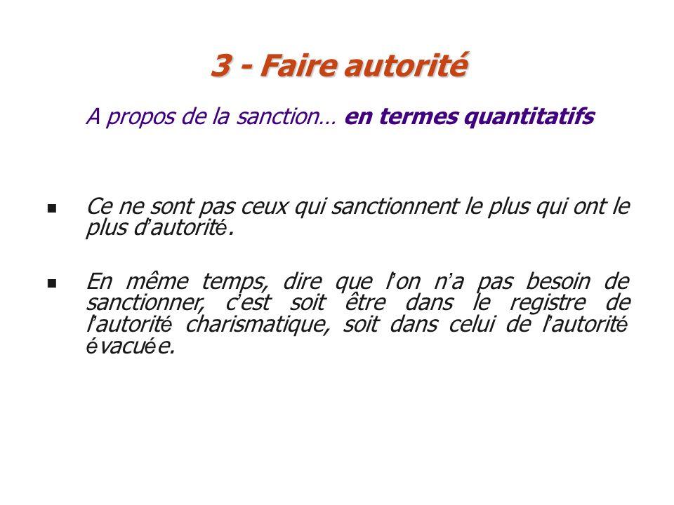 3 - Faire autorité A propos de la sanction… en termes quantitatifs