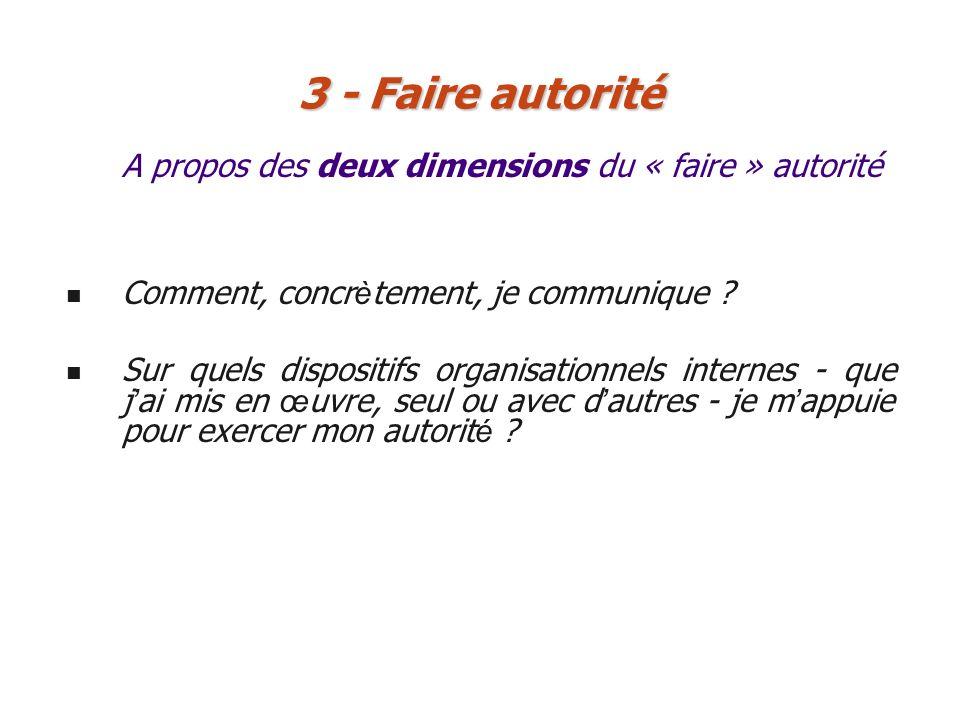 3 - Faire autorité A propos des deux dimensions du « faire » autorité