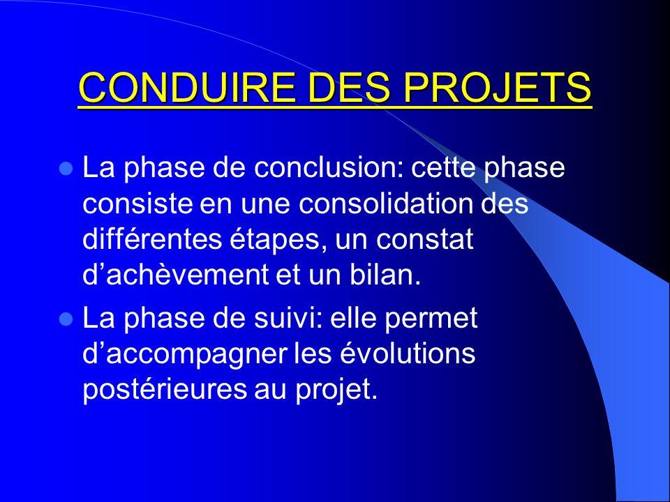 CONDUIRE DES PROJETS La phase de conclusion: cette phase consiste en une consolidation des différentes étapes, un constat d'achèvement et un bilan.