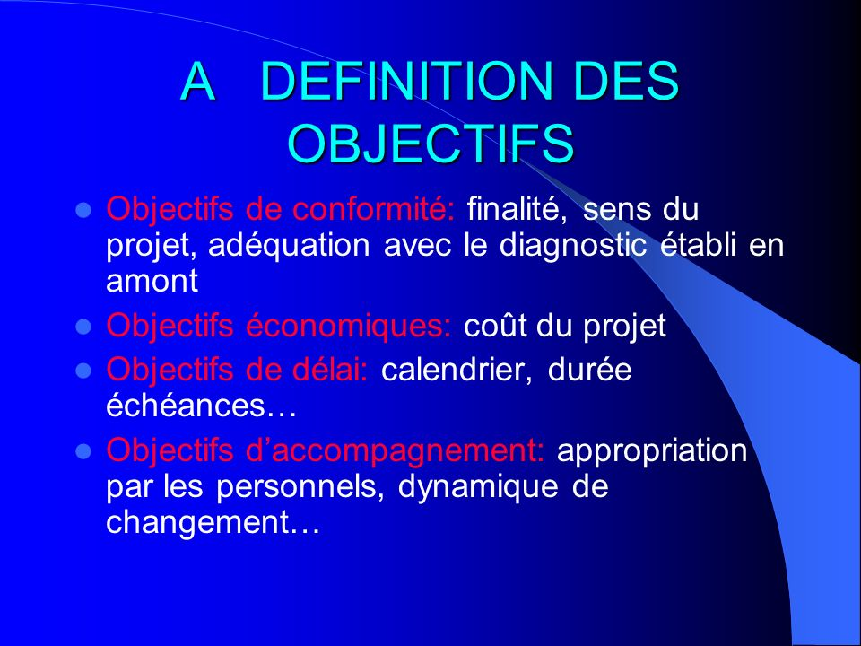 A DEFINITION DES OBJECTIFS