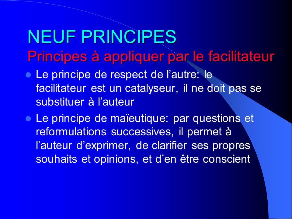 NEUF PRINCIPES Principes à appliquer par le facilitateur