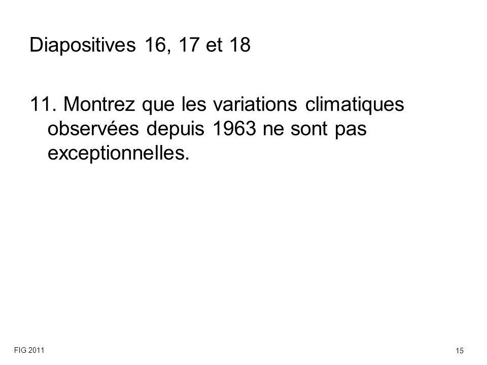 Diapositives 16, 17 et 18 11. Montrez que les variations climatiques observées depuis 1963 ne sont pas exceptionnelles.