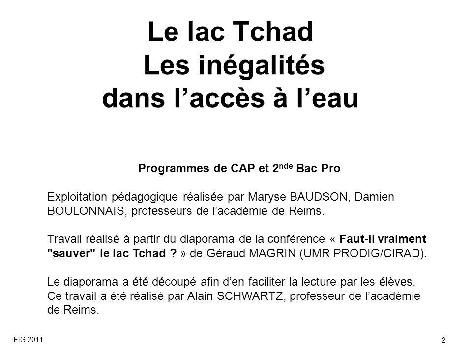 Le lac Tchad Les inégalités dans l'accès à l'eau