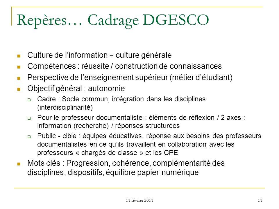 Repères… Cadrage DGESCO