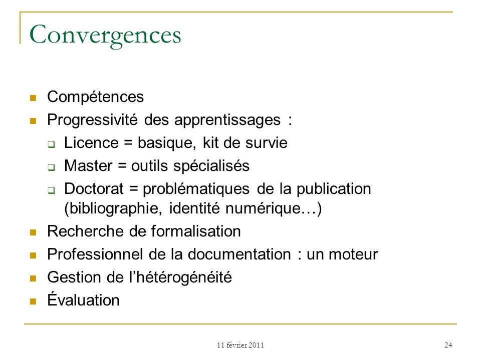 Convergences Compétences Progressivité des apprentissages :