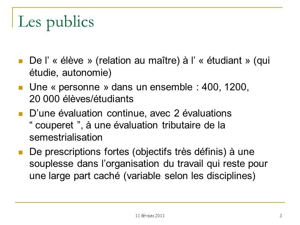 Les publics De l' « élève » (relation au maître) à l' « étudiant » (qui étudie, autonomie)