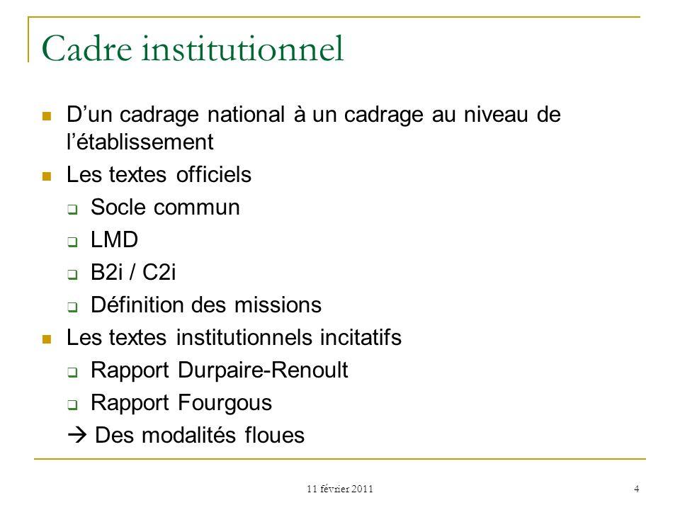 Cadre institutionnel D'un cadrage national à un cadrage au niveau de l'établissement. Les textes officiels.
