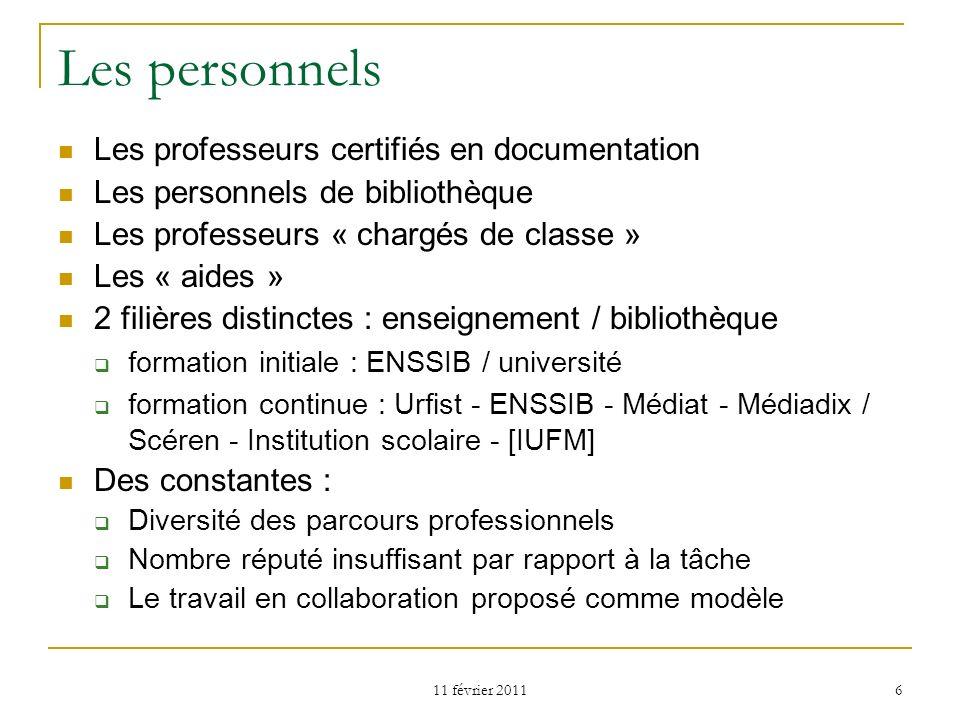 Les personnels Les professeurs certifiés en documentation