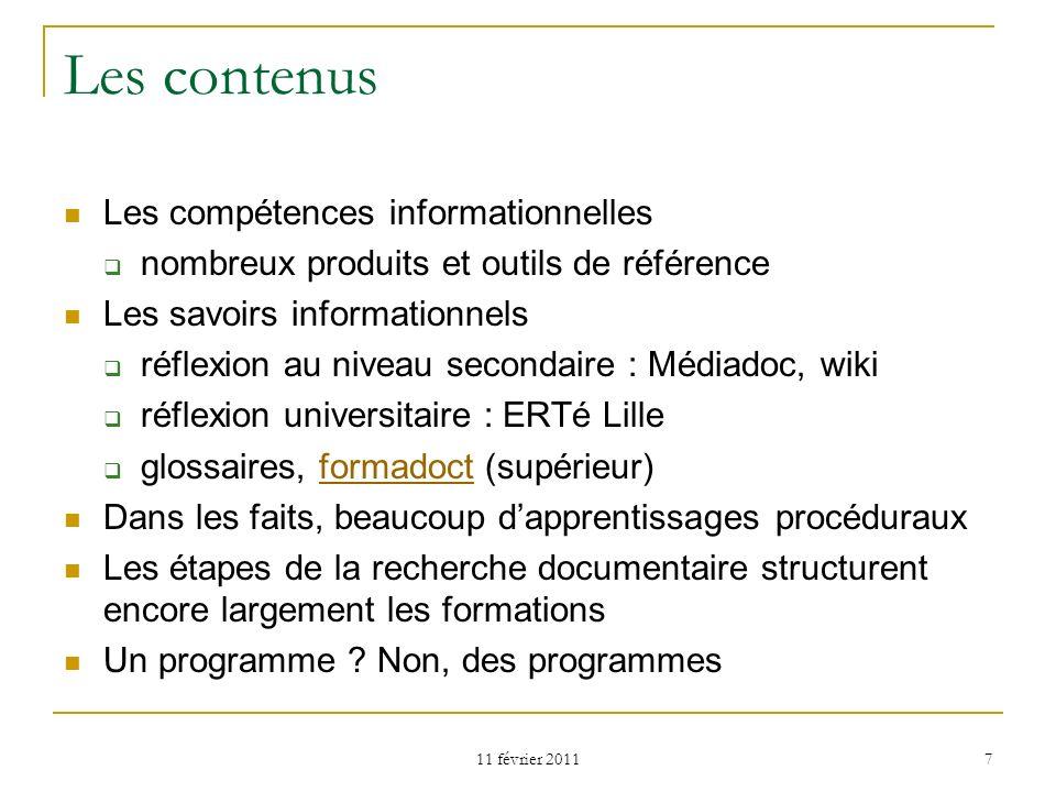 Les contenus Les compétences informationnelles