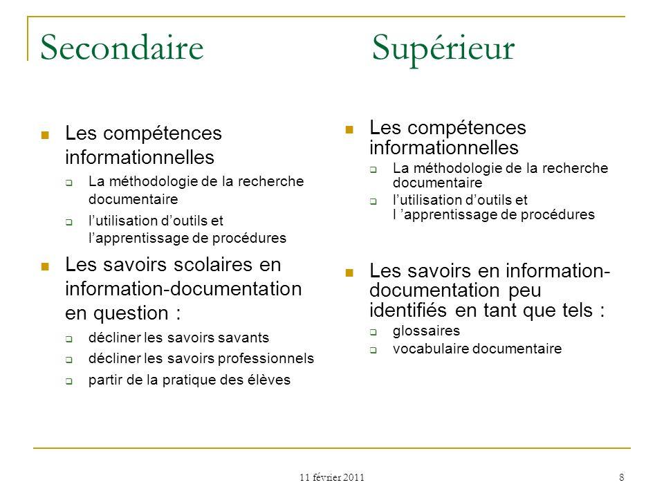 Secondaire Supérieur Les compétences informationnelles
