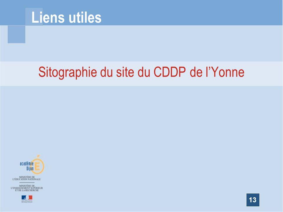 Sitographie du site du CDDP de l'Yonne