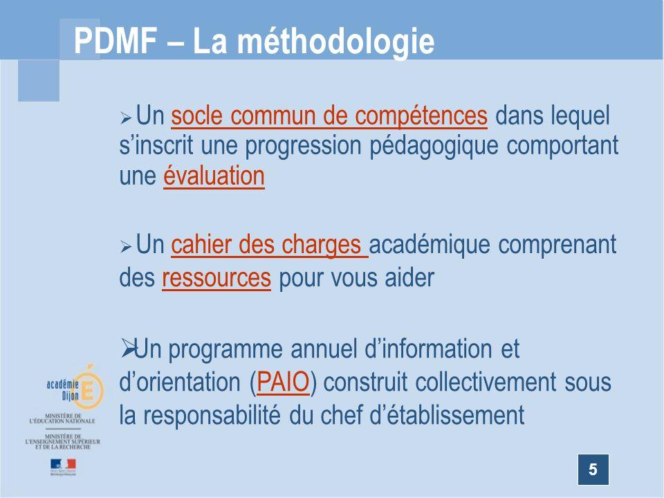 PDMF – La méthodologie Un socle commun de compétences dans lequel s'inscrit une progression pédagogique comportant une évaluation.