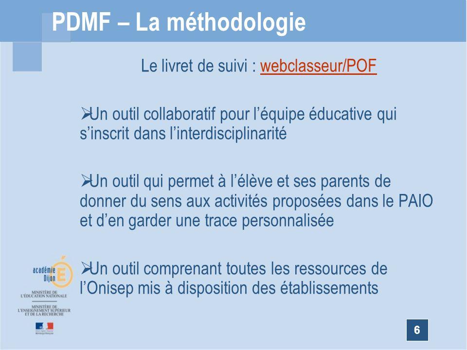 Le livret de suivi : webclasseur/POF