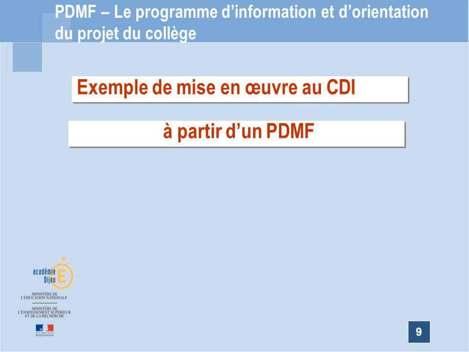 Exemple de mise en œuvre au CDI