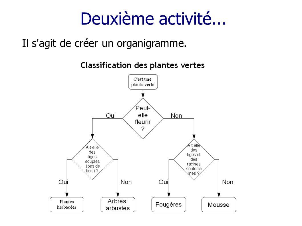 Deuxième activité... Il s agit de créer un organigramme.