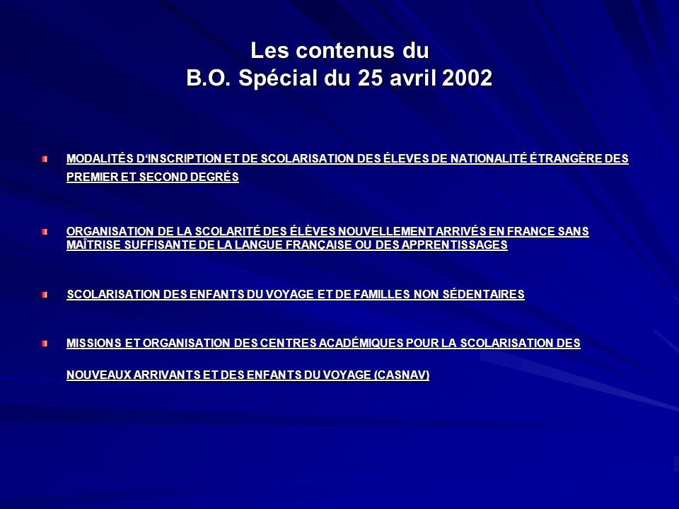 Les contenus du B.O. Spécial du 25 avril 2002