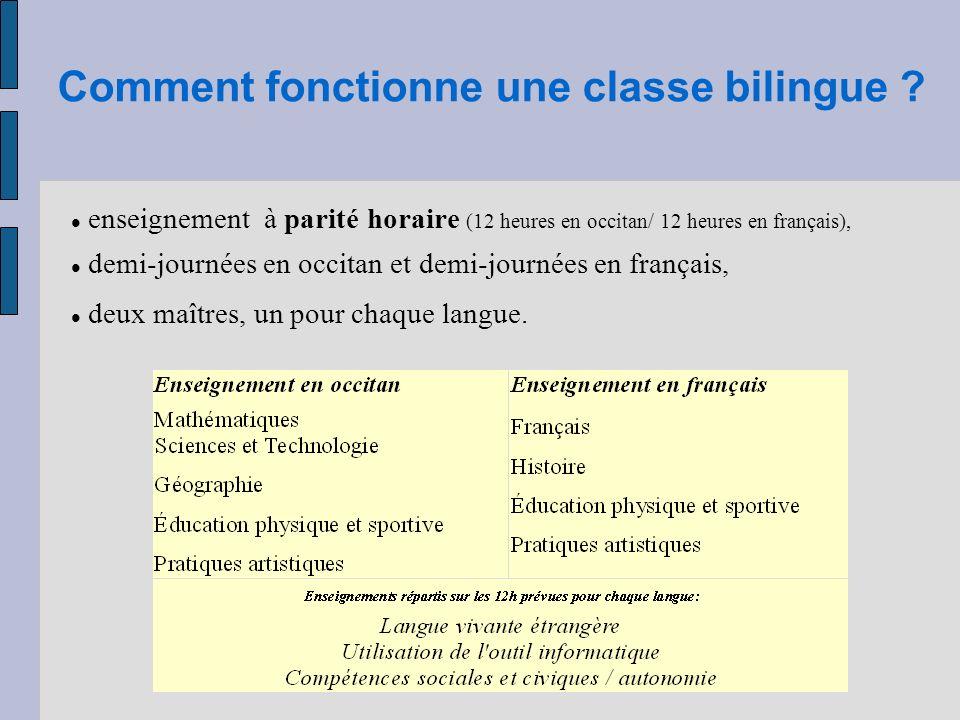 Comment fonctionne une classe bilingue