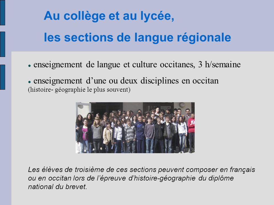Au collège et au lycée, les sections de langue régionale