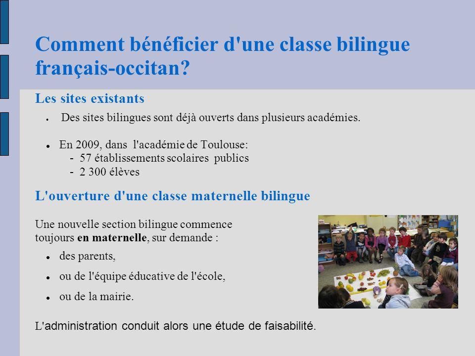 Comment bénéficier d une classe bilingue français-occitan