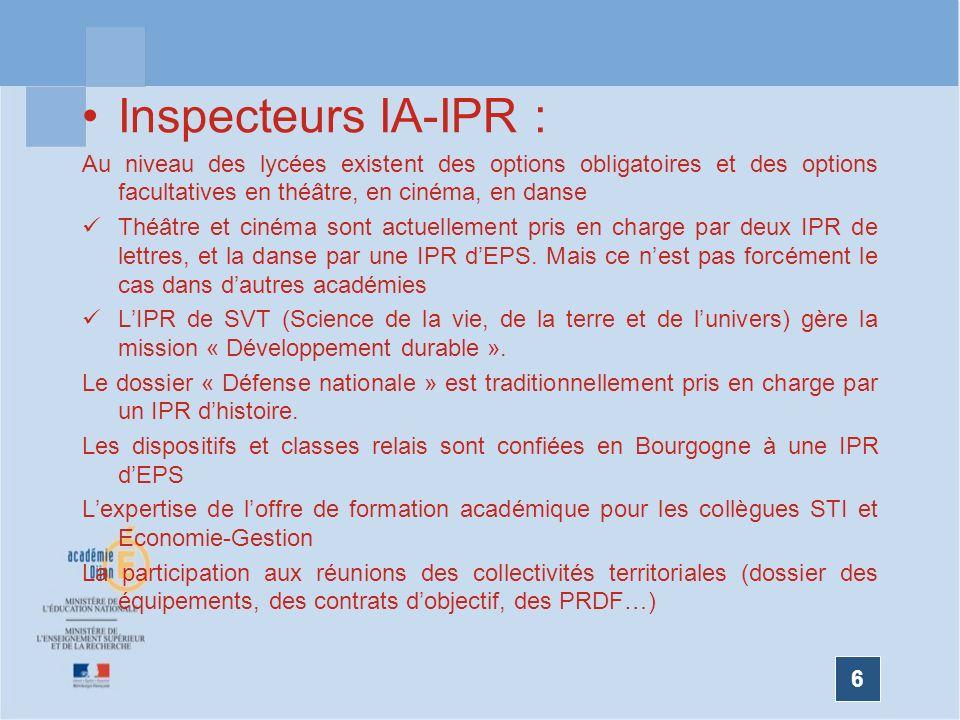 Inspecteurs IA-IPR : Au niveau des lycées existent des options obligatoires et des options facultatives en théâtre, en cinéma, en danse.