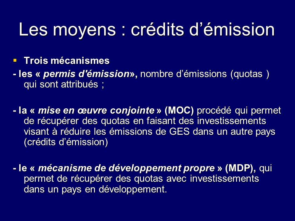 Les moyens : crédits d'émission