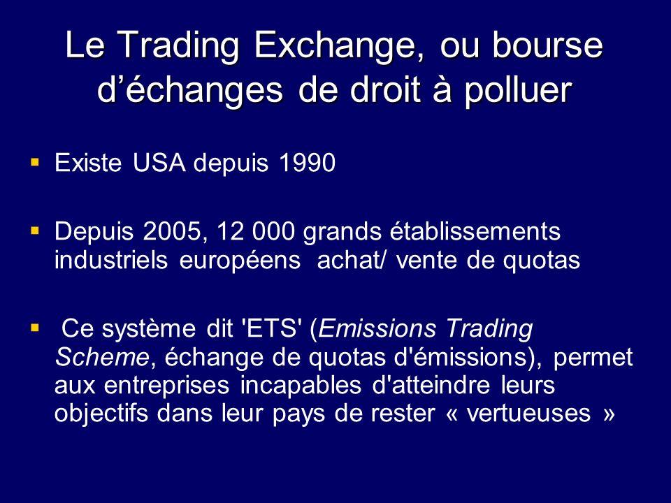 Le Trading Exchange, ou bourse d'échanges de droit à polluer