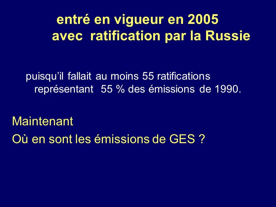 entré en vigueur en 2005 avec ratification par la Russie