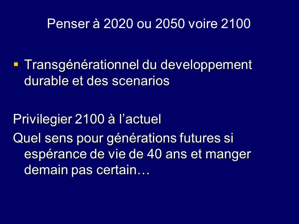 Penser à 2020 ou 2050 voire 2100Transgénérationnel du developpement durable et des scenarios. Privilegier 2100 à l'actuel.