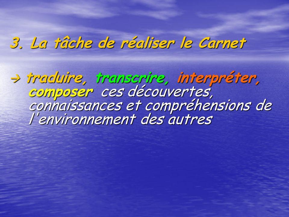 3. La tâche de réaliser le Carnet